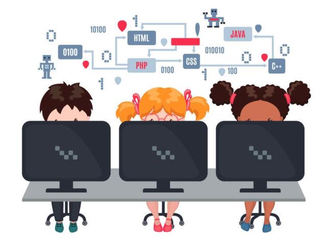 Kids learn coding on laptops in school.